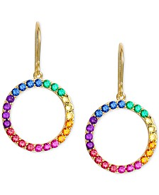 Giani Bernini Cubic Zirconia Rainbow Circle Drop Earrings in 18k Gold-Plated Sterling Silver, Created for Macy's