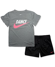 Nike Toddler Girls 2-Pc. Dance Futura Logo T-Shirt & Mesh Shorts Set