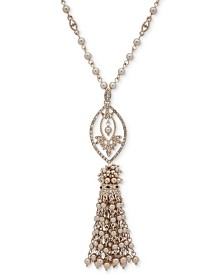 "Marchesa Gold-Tone Crystal, Stone & Imitation Pearl Tassel 36"" Pendant Necklace"