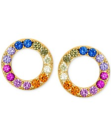 Giani Bernini Cubic Zirconia Rainbow Circle Stud Earrings in 18k Gold-Plated Sterling Silver, Created for Macy's
