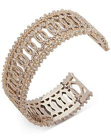 Marchesa Gold-Tone Crystal Cuff Bracelet