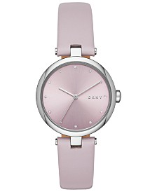 DKNY Women's Eastside Lilac Leather Strap Watch 34mm