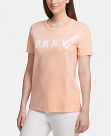 DKNY Logo Sequin T-Shirt