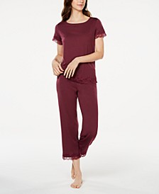 Lace Trim Knit Pajamas Set, Created for Macy's