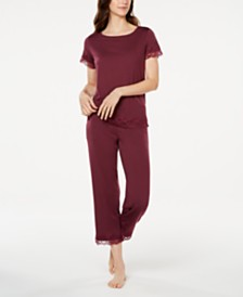 Charter Club Lace Trim Knit Pajamas Set, Created for Macy's