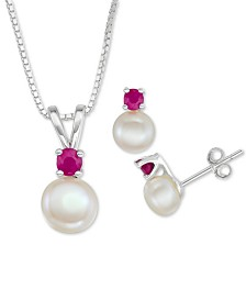 "Cultured Freshwater Pearl (6mm-7mm) & Ruby (1/2 ct. t.w.) 18"" Pendant Necklace & Stud Earrings Set in Sterling Silver"