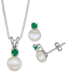 "Cultured Freshwater Pearl (6-7mm) & Emerald (1/3 ct. t.w.) 18"" Pendant Necklace & Stud Earrings Set in Sterling Silver"