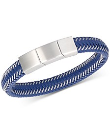 Men's Blue Leather Braided Bracelet in Stainless Steel
