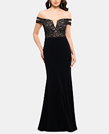 X by Xscape Off-The-Shoulder Double-Strap Gown