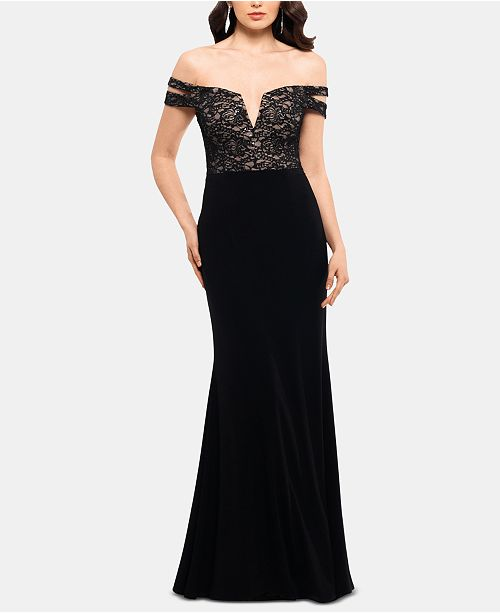 XSCAPE Off-The-Shoulder Double-Strap Gown