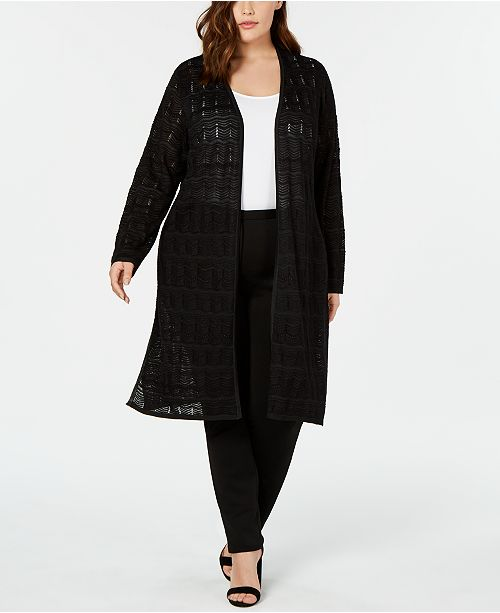 JM Collection Plus Size Crochet Duster Cardigan, Created for Macy's