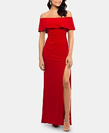 X by Xscape Petite Ruffled Off-The-Shoulder Gown