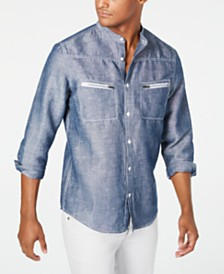 I.N.C. Men's Band-Collar Shirt, Created for Macy's