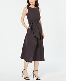 Anne Klein Tie-Waist Midi Dress