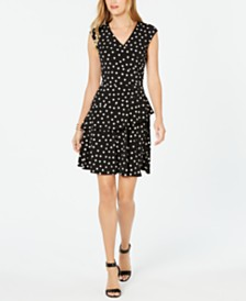 Robbie Bee Petite Polka Dot Ruffled Dress