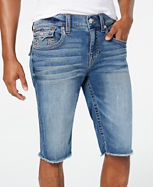 True Religion Men's Ricky Flap Relaxed-Straight Fit Stretch Denim Shorts