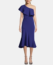 Betsy & Adam Ruffled One-Shoulder Midi Dress