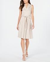 853146c5a2c9 Anne Klein Printed Notched-Collar Faux-Wrap Dress
