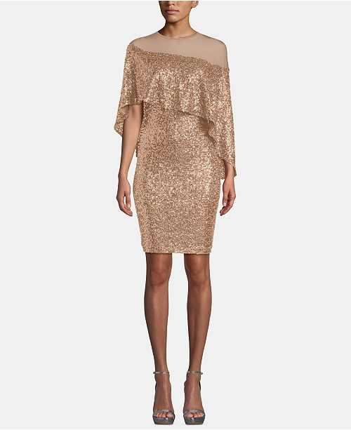 Betsy & Adam Sequin & Mesh Overlay Dress