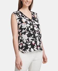 DKNY Floral-Print V-Neck Top