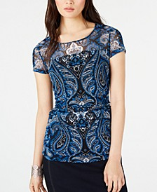 INC Cap-Sleeve Paisley Illusion Top, Created for Macy's