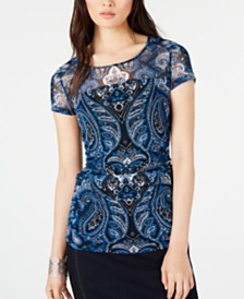 I.N.C. Cap-Sleeve Paisley Illusion Top, Created for Macy's