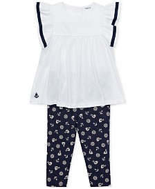 Polo Ralph Lauren Baby Girls Ruffled Top & Leggings Set