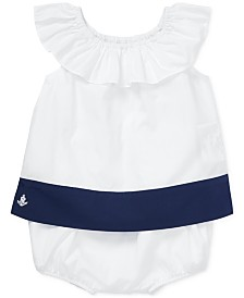 Polo Ralph Lauren Baby Girls Colorblocked Ruffled Top & Shorts Set