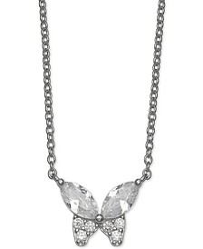 "Cubic Zirconia Butterfly 18"" Pendant Necklace in Sterling Silver, Created for Macy's"