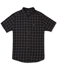 Men's Slim-Fit Pain Killer Windowpane Plaid Short Sleeve Shirt