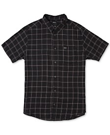 RVCA Men's Slim-Fit Pain Killer Windowpane Plaid Short Sleeve Shirt