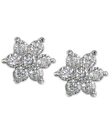 Giani Bernini Cubic Zirconia Flower Stud Earrings in Sterling Silver, Created for Macy's