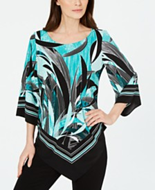 Alfani Floral Scarf-Print Blouse, Created For Macy's