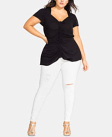 City Chic Plus Size Drawstring-Front Flutter-Sleeve Top