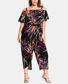 City Chic Plus Size Bahama Printed Belted Jumpsuit