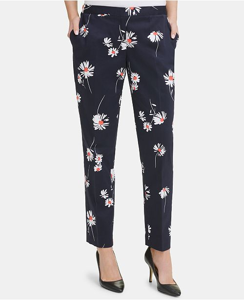 Tommy Hilfiger Floral-Print Slim-Leg Pants, Created for Macy's