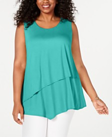 Alfani Plus Size Tiered Asymmetrical-Hem Top, Created for Macy's