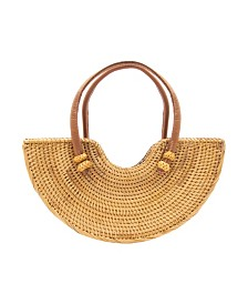 La Regale Half-Moon Rattan Handbag