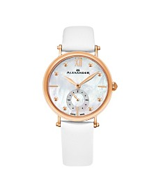 Alexander Watch A201-03, Ladies Quartz Small-Second Watch with Rose Gold Tone Stainless Steel Case on White Satin Strap