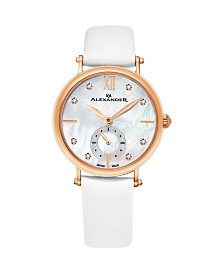 Alexander Watch AD201-03, Ladies Quartz Small-Second Watch with Rose Gold Tone Stainless Steel Case on White Satin Strap