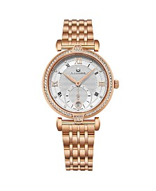 Alexander Watch AD202B-04, Ladies Quartz Small-Second Date Watch with Rose Gold Tone Stainless Steel Case with Rose Gold Tone Stainless Steel Bracelet