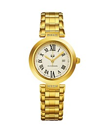 Alexander Watch AD203B-03, Ladies Quartz Date Watch with Yellow Gold Tone Stainless Steel Case on Yellow Gold Tone Stainless Steel Bracelet