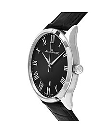 Alexander Watch A103-02, Stainless Steel Case on Black Embossed Genuine Leather Strap