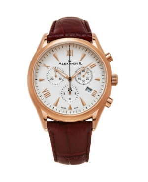 Image of Alexander Watch A021-04, Stainless Steel Rose Gold Tone Case on Brown Embossed Genuine Leather Strap