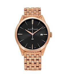 Alexander Watch A911B-06, Stainless Steel Rose Gold Tone Case on Stainless Steel Rose Gold Tone Bracelet