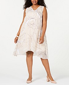 Plus Size V-Neck Printed-Overlay Dress, Created for Macy's