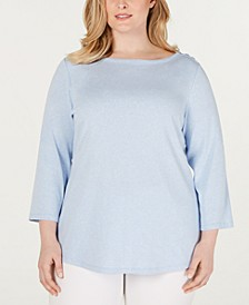 Plus Size Cotton Boat-Neck Top, Created for Macy's