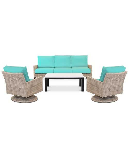 Brilliant Amari Parchment Outdoor 4 Pc Seating Set 1 Sofa 2 Swivel Chairs 1 Coffee Table With Sunbrella Cushions Evergreenethics Interior Chair Design Evergreenethicsorg