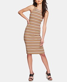 1.STATE Open-Back Striped Bodycon Dress