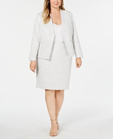Calvin Klein Plus Size Asymmetrical Jacket, Button-Front Blouse & Pencil Skirt